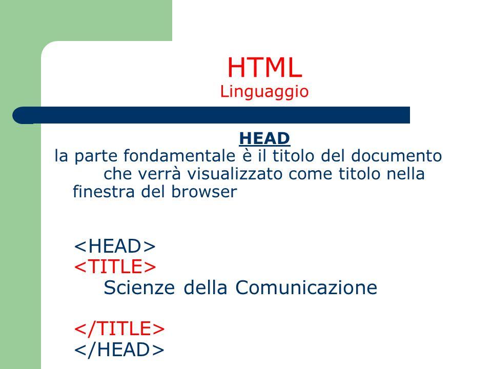 HTML Linguaggio <TITLE> Scienze della Comunicazione