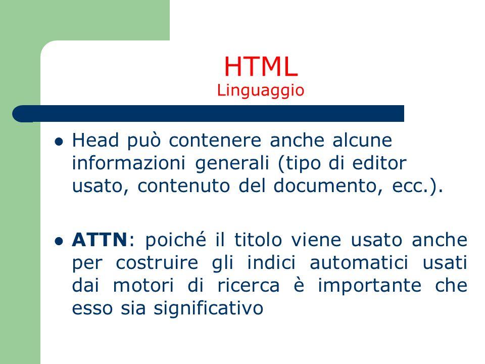 HTML Linguaggio Head può contenere anche alcune informazioni generali (tipo di editor usato, contenuto del documento, ecc.).