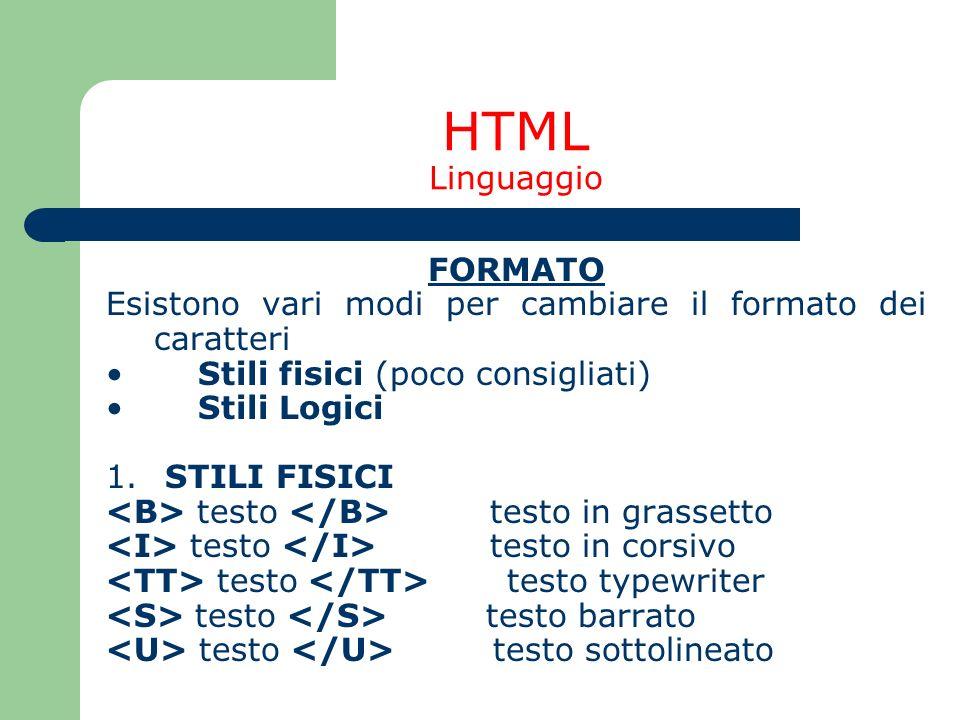 HTML Linguaggio FORMATO