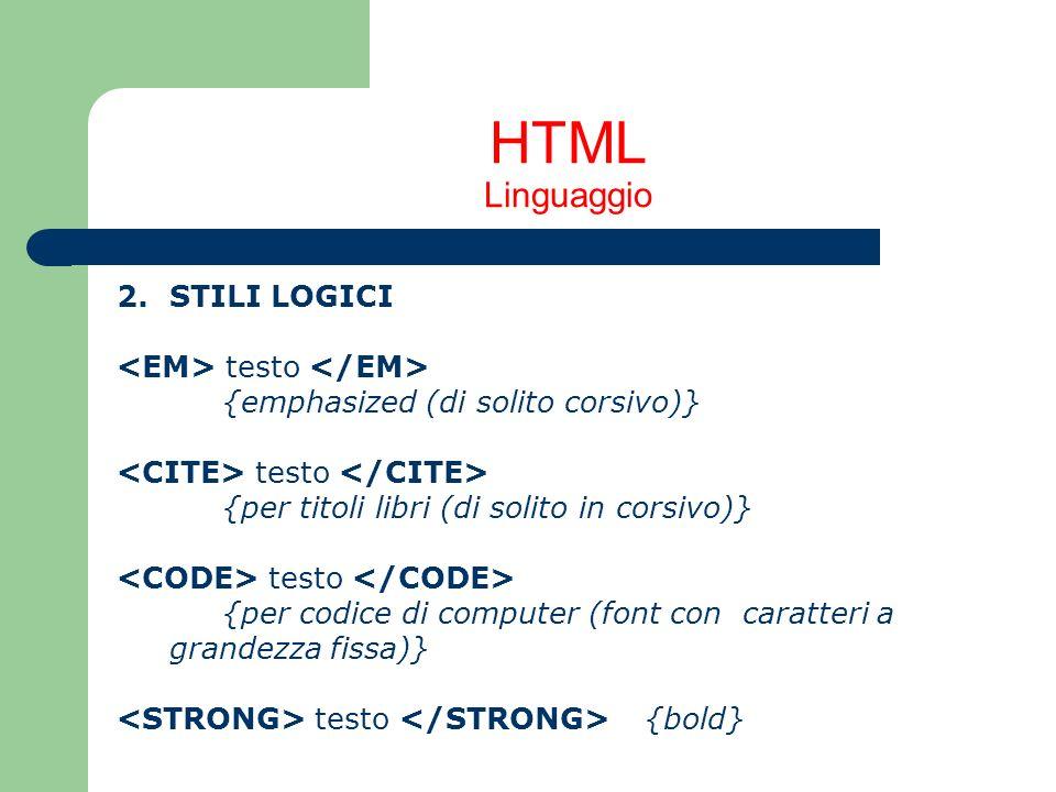 HTML Linguaggio 2. STILI LOGICI <EM> testo </EM>