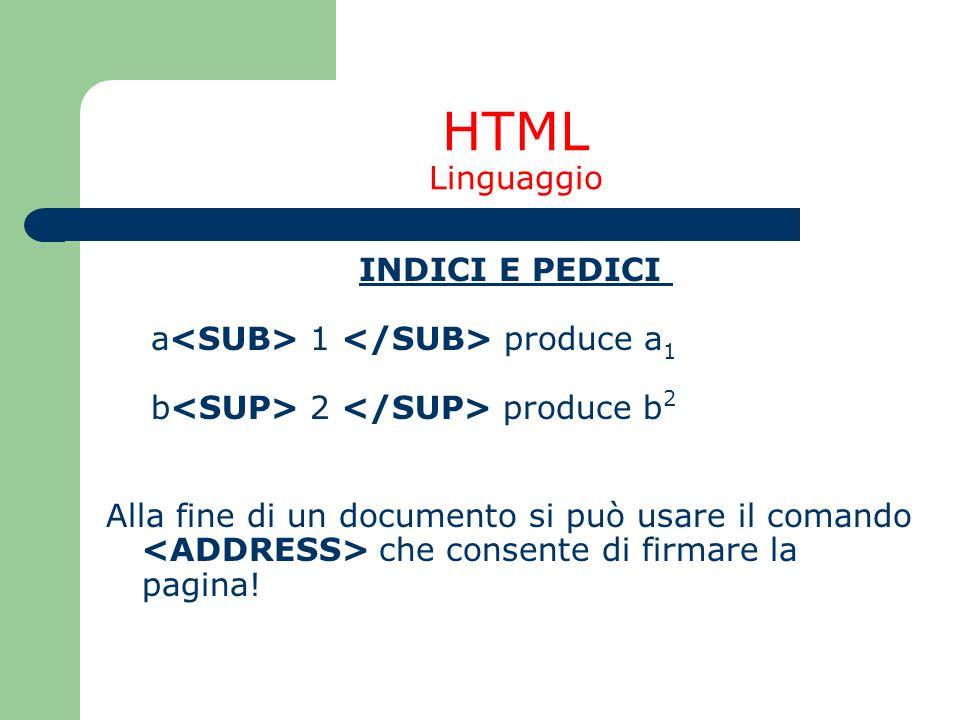 HTML Linguaggio INDICI E PEDICI a<SUB> 1 </SUB> produce a1