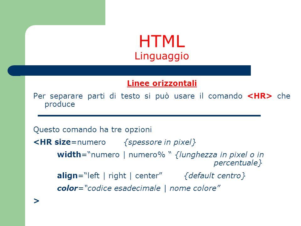 HTML Linguaggio Linee orizzontali