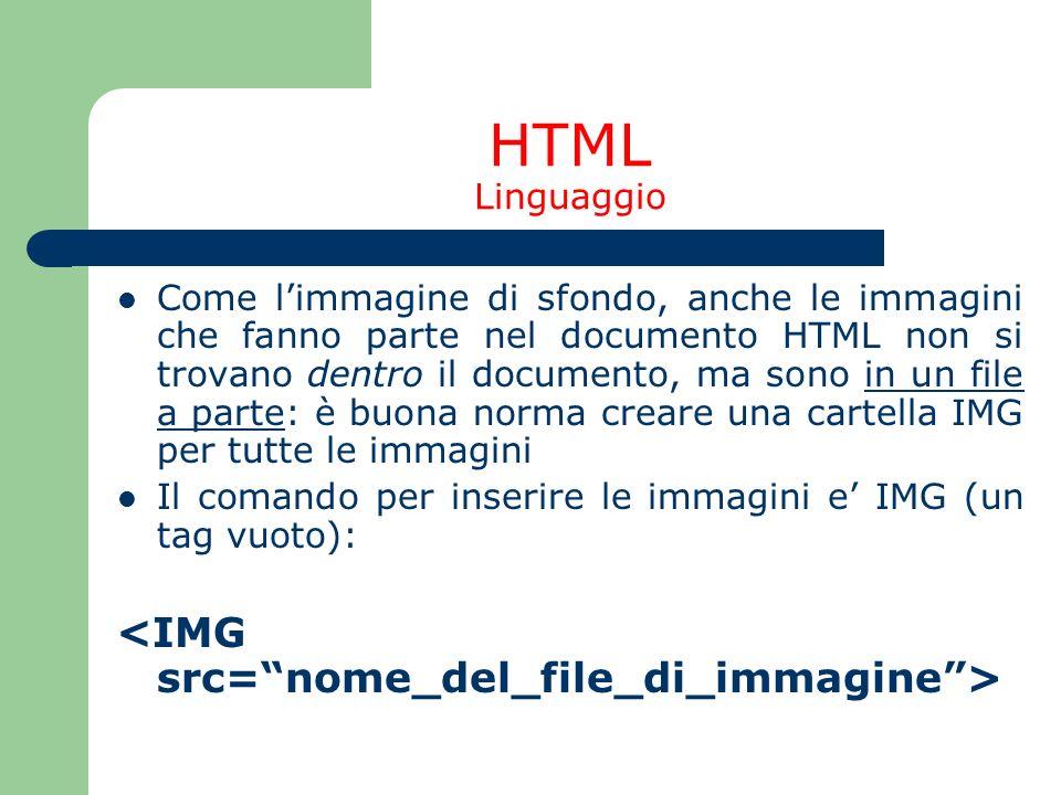 HTML Linguaggio <IMG src= nome_del_file_di_immagine >
