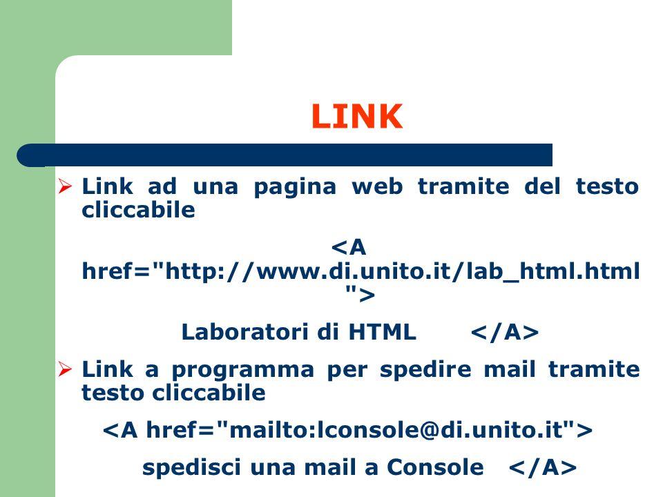 LINK Link ad una pagina web tramite del testo cliccabile