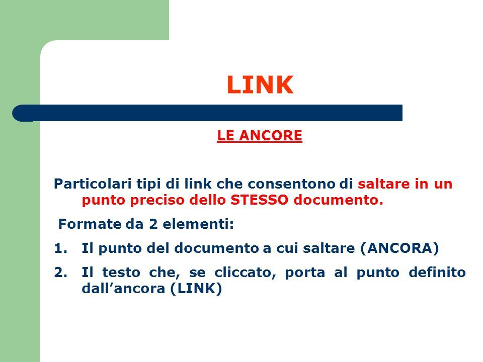 LINK LE ANCORE. Particolari tipi di link che consentono di saltare in un punto preciso dello STESSO documento.