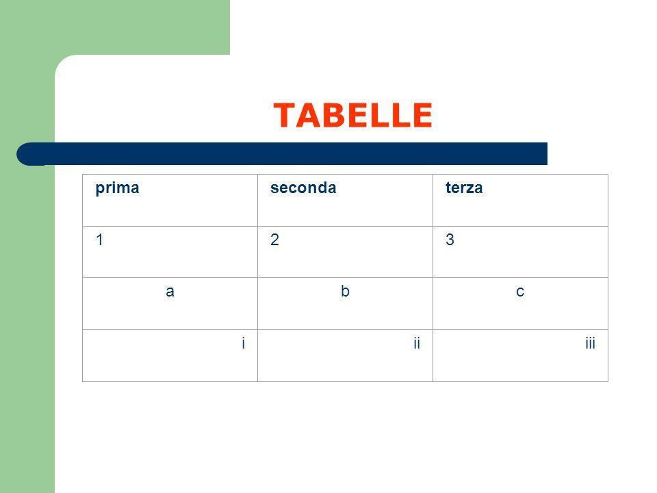 TABELLE prima seconda terza 1 2 3 a b c i ii iii