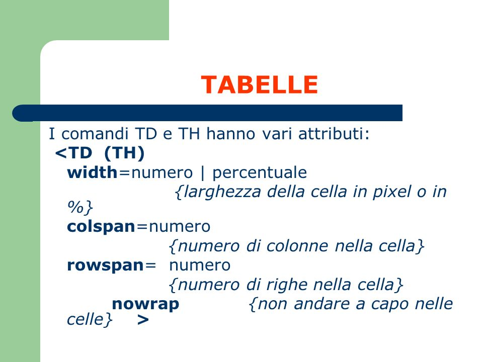 TABELLE I comandi TD e TH hanno vari attributi: <TD (TH)