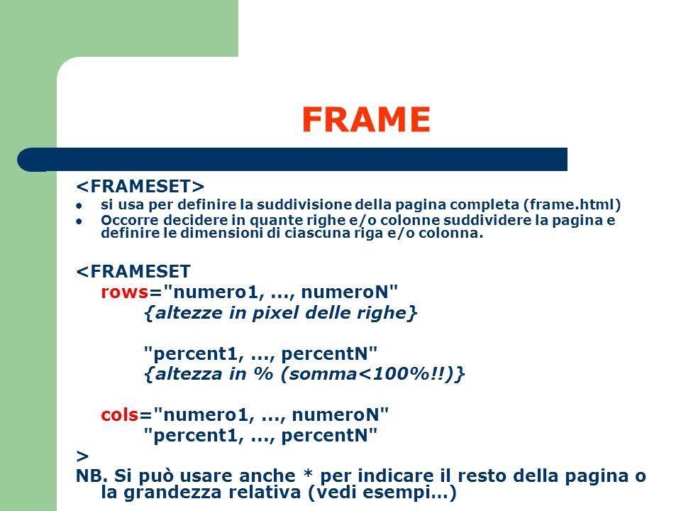 FRAME <FRAMESET> <FRAMESET rows= numero1, ..., numeroN