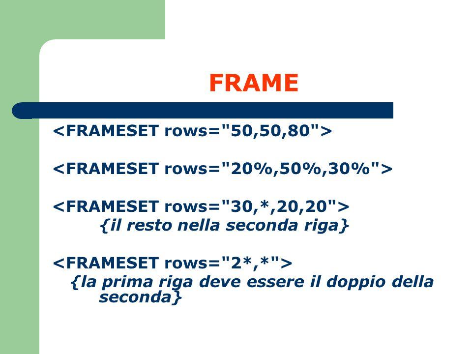 FRAME <FRAMESET rows= 50,50,80 >