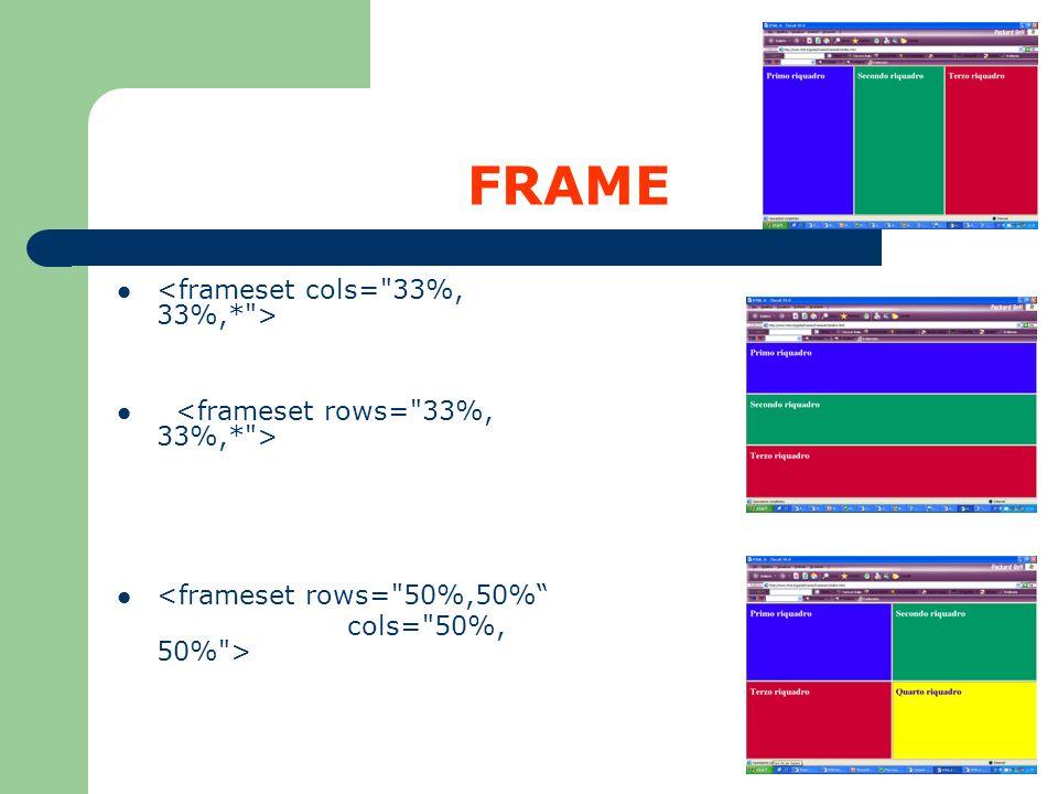 FRAME <frameset cols= 33%, 33%,* >