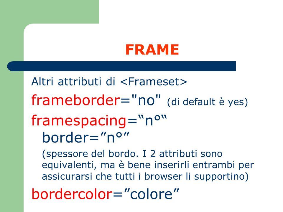 frameborder= no (di default è yes) framespacing= n° border= n°