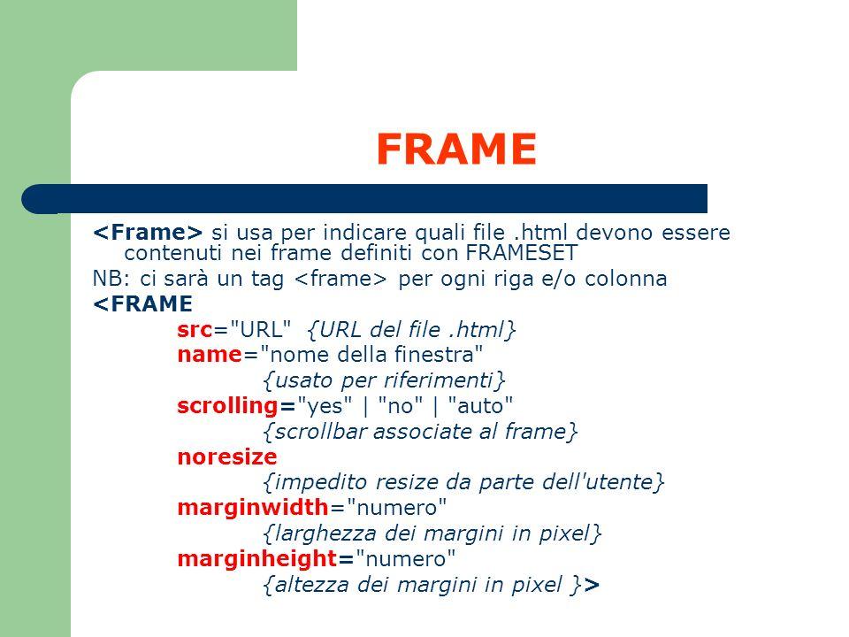 FRAME <Frame> si usa per indicare quali file .html devono essere contenuti nei frame definiti con FRAMESET.