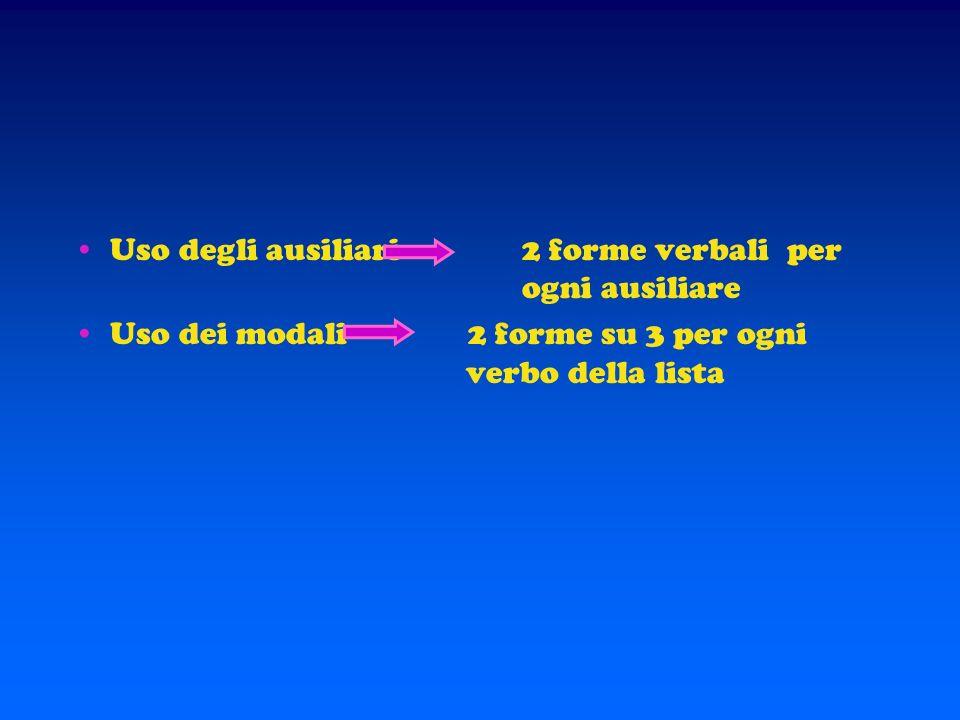 Uso degli ausiliari 2 forme verbali per ogni ausiliare