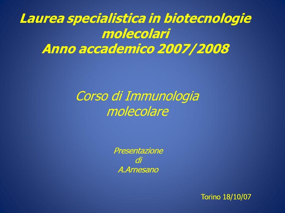 Laurea specialistica in biotecnologie molecolari