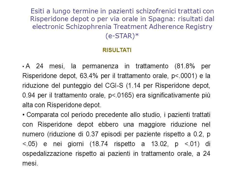 Esiti a lungo termine in pazienti schizofrenici trattati con Risperidone depot o per via orale in Spagna: risultati dal electronic Schizophrenia Treatment Adherence Registry (e-STAR)*