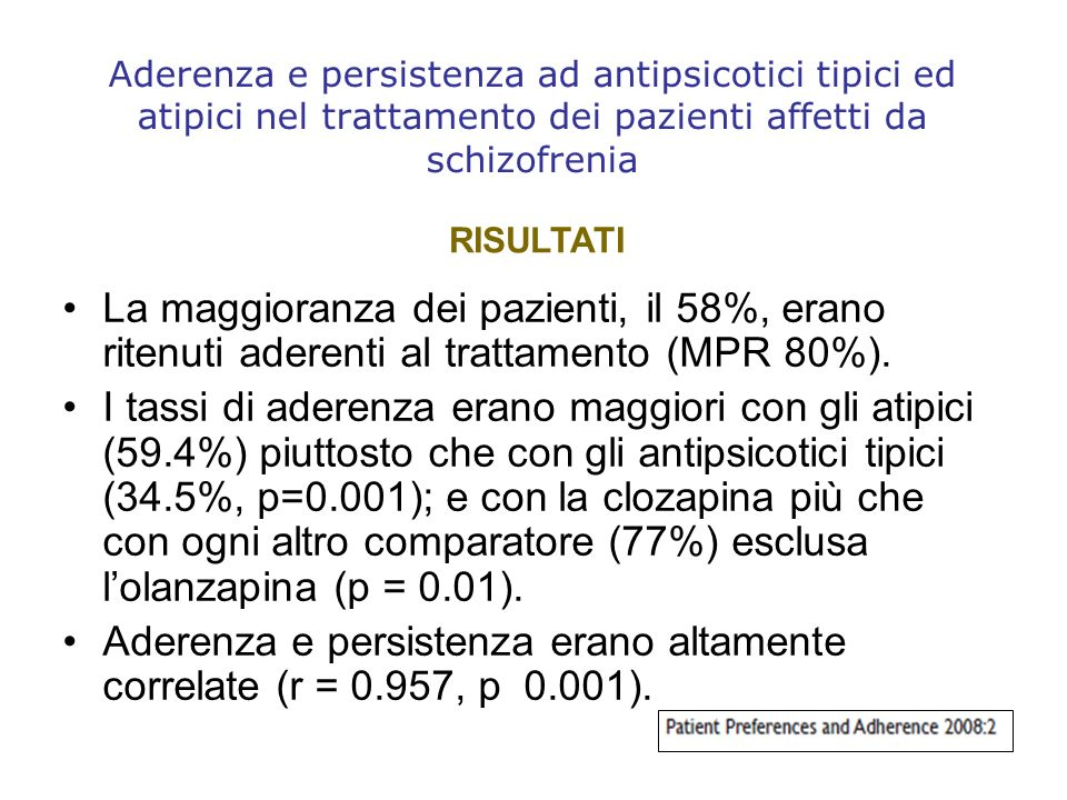 Aderenza e persistenza erano altamente correlate (r = 0.957, p 0.001).