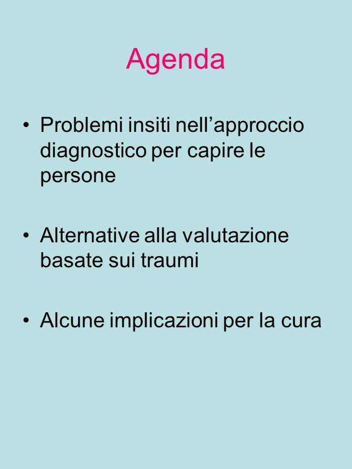 Agenda Problemi insiti nell'approccio diagnostico per capire le persone. Alternative alla valutazione basate sui traumi.