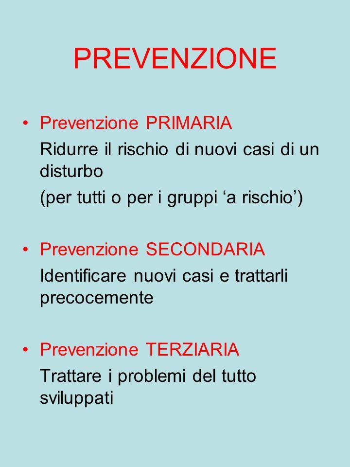 PREVENZIONE Prevenzione PRIMARIA
