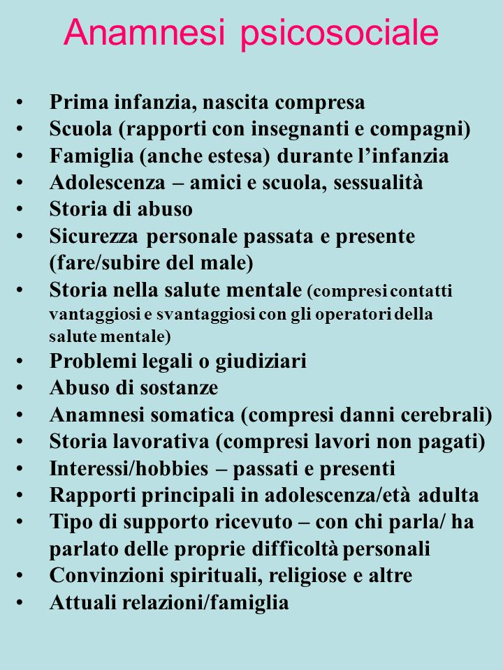 Anamnesi psicosociale