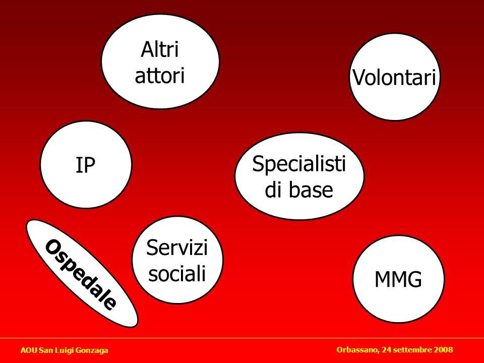 Altri attori Volontari IP Specialisti di base Servizi sociali MMG