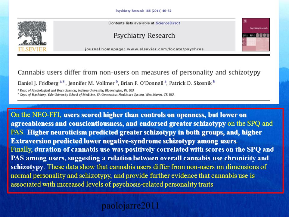 On the NEO-FFI, users scored higher than controls on openness, but lower on agreeableness and conscientiousness, and endorsed greater schizotypy on the SPQ and PAS. Higher neuroticism predicted greater schizotypy in both groups, and, higher