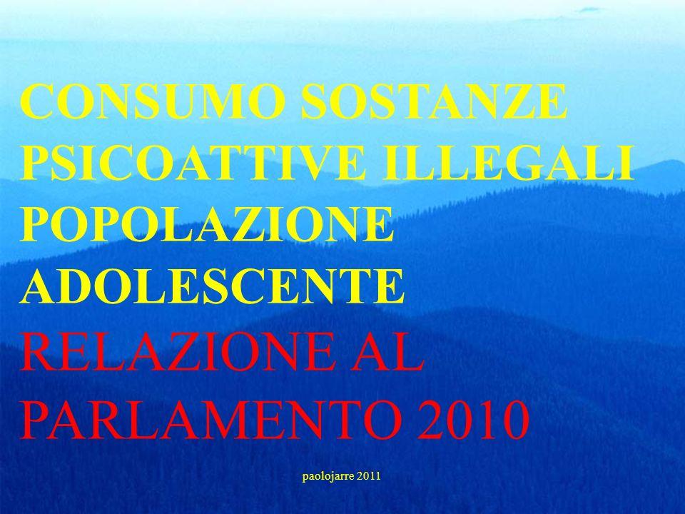 CONSUMO SOSTANZE PSICOATTIVE ILLEGALI POPOLAZIONE ADOLESCENTE RELAZIONE AL PARLAMENTO 2010