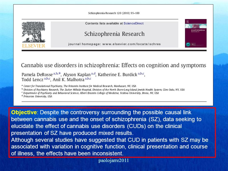 Objective: Despite the controversy surrounding the possible causal link between cannabis use and the onset of schizophrenia (SZ), data seeking to elucidate the effect of cannabis use disorders (CUDs) on the clinical presentation of SZ have produced mixed results. Although several studies have suggested that CUD in patients with SZ may be associated with variation in cognitive function, clinical presentation and course of illness, the effects have been inconsistent.
