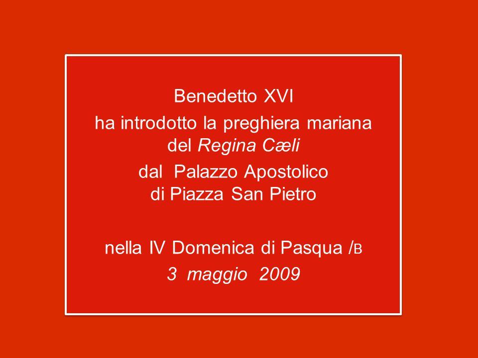 Benedetto XVI ha introdotto la preghiera mariana del Regina Cæli dal Palazzo Apostolico di Piazza San Pietro nella IV Domenica di Pasqua /B 3 maggio 2009