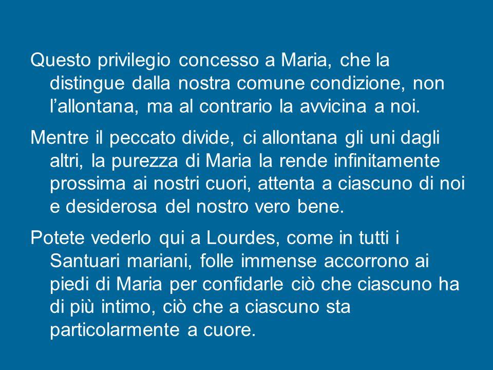 Questo privilegio concesso a Maria, che la distingue dalla nostra comune condizione, non l'allontana, ma al contrario la avvicina a noi.