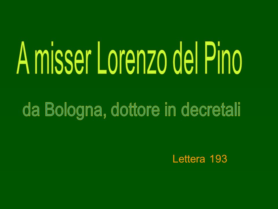 A misser Lorenzo del Pino