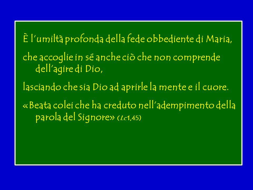 È l'umiltà profonda della fede obbediente di Maria, che accoglie in sé anche ciò che non comprende dell'agire di Dio, lasciando che sia Dio ad aprirle la mente e il cuore.