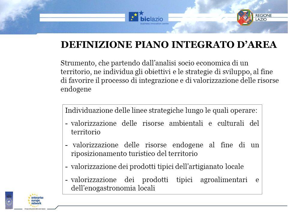 DEFINIZIONE PIANO INTEGRATO D'AREA Strumento, che partendo dall'analisi socio economica di un territorio, ne individua gli obiettivi e le strategie di sviluppo, al fine di favorire il processo di integrazione e di valorizzazione delle risorse endogene