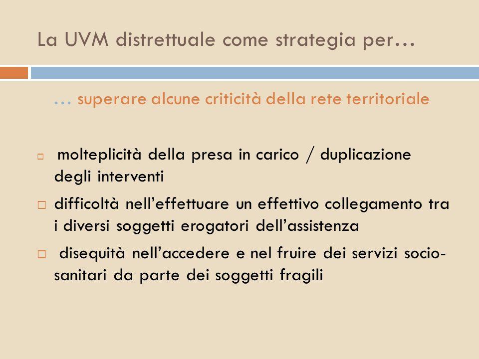 La UVM distrettuale come strategia per…