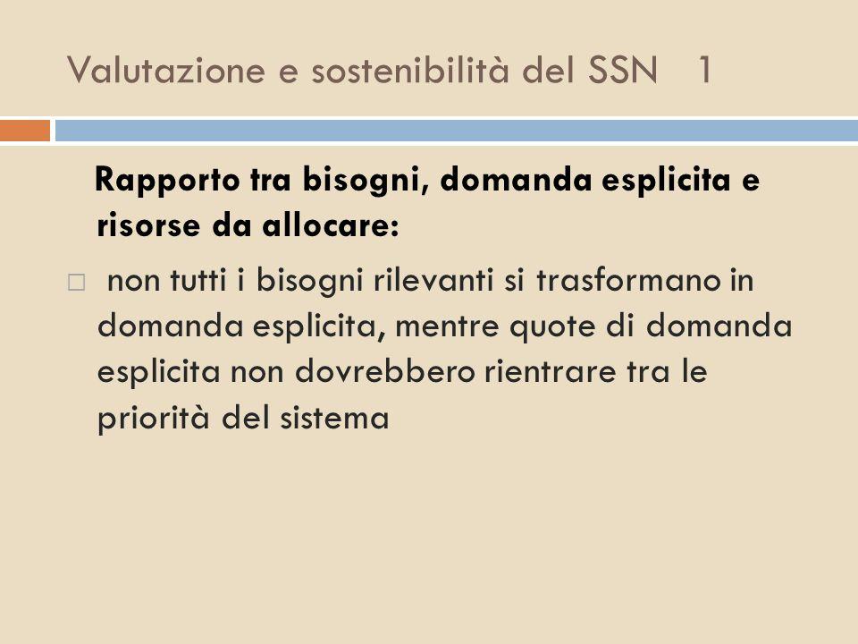 Valutazione e sostenibilità del SSN 1