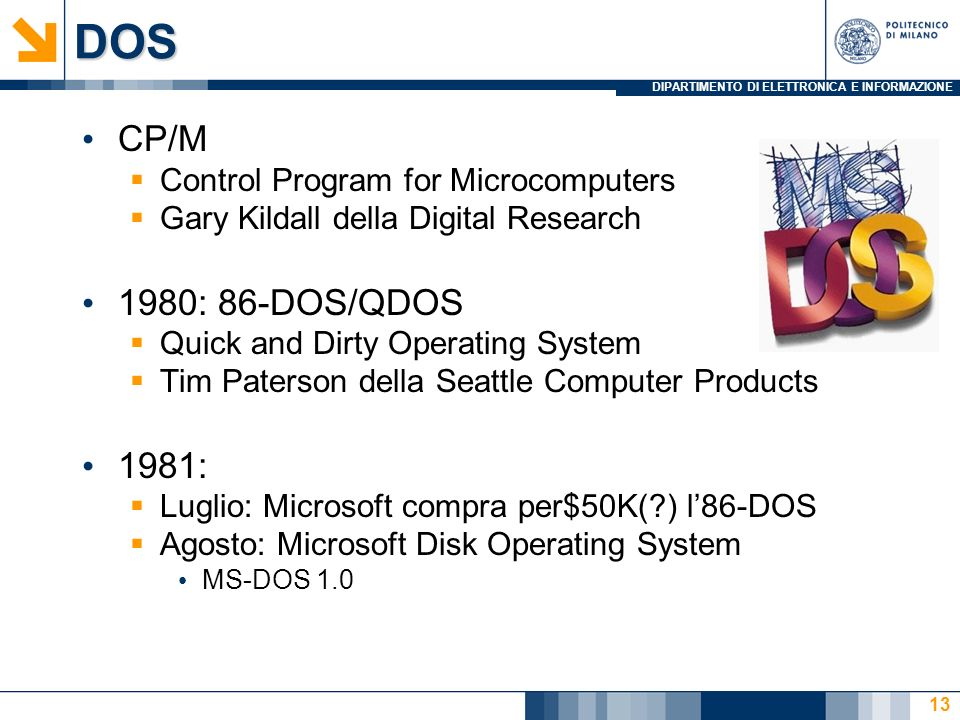 DOS CP/M 1980: 86-DOS/QDOS 1981: Control Program for Microcomputers