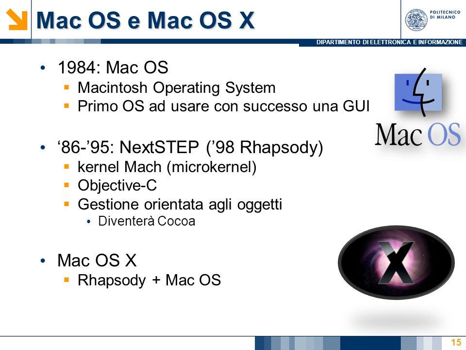 Mac OS e Mac OS X 1984: Mac OS '86-'95: NextSTEP ('98 Rhapsody)