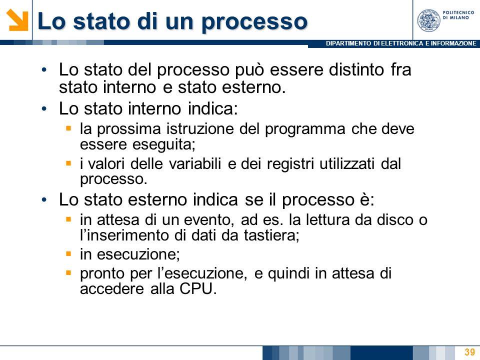 Lo stato di un processo Lo stato del processo può essere distinto fra stato interno e stato esterno.
