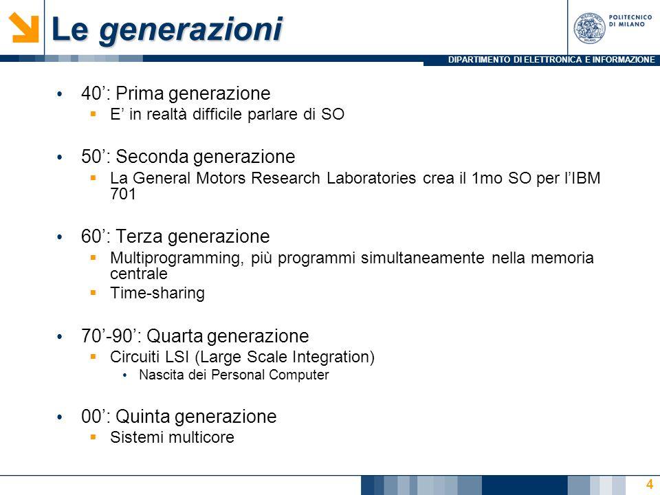 Le generazioni 40': Prima generazione 50': Seconda generazione