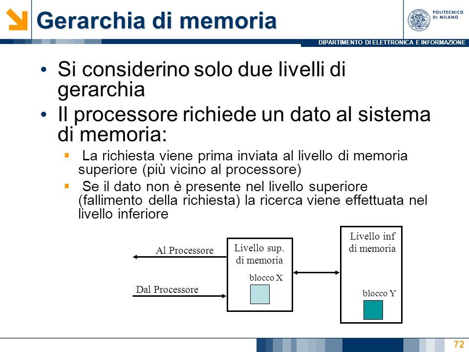 Gerarchia di memoria Si considerino solo due livelli di gerarchia
