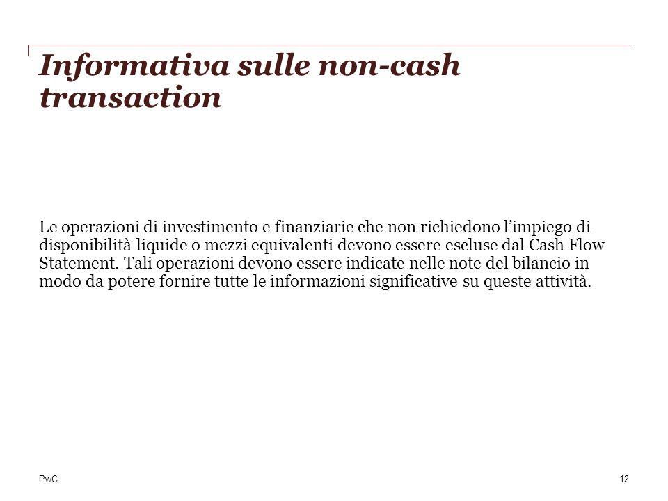 Informativa sulle non-cash transaction