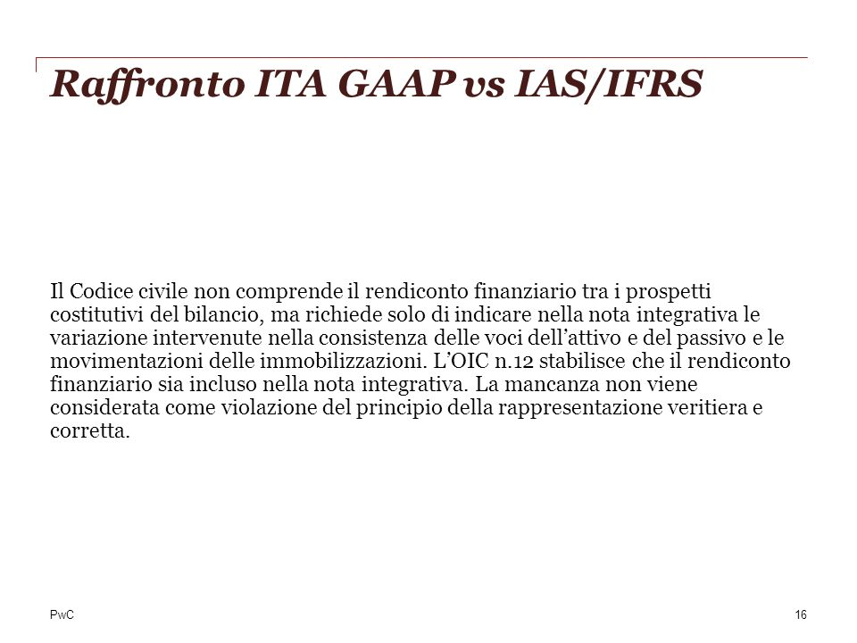 Raffronto ITA GAAP vs IAS/IFRS