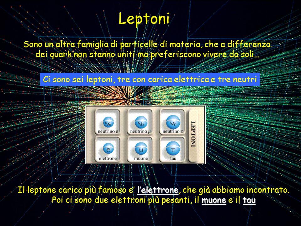 Leptoni Sono un altra famiglia di particelle di materia, che a differenza. dei quark non stanno uniti ma preferiscono vivere da soli…