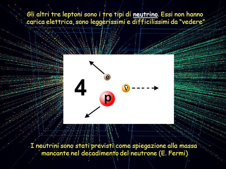 Gli altri tre leptoni sono i tre tipi di neutrino. Essi non hanno