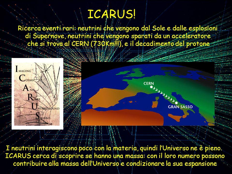 ICARUS! Ricerca eventi rari: neutrini che vengono dal Sole e dalle esplosioni. di Supernove, neutrini che vengono sparati da un acceleratore.