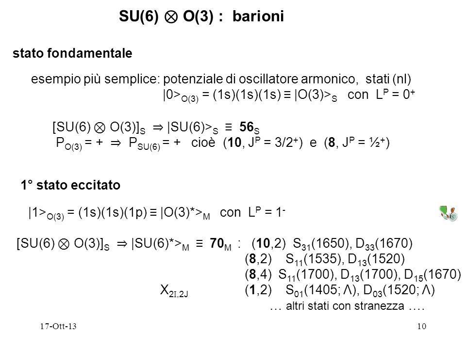 SU(6) ⊗ O(3) : barioni stato fondamentale