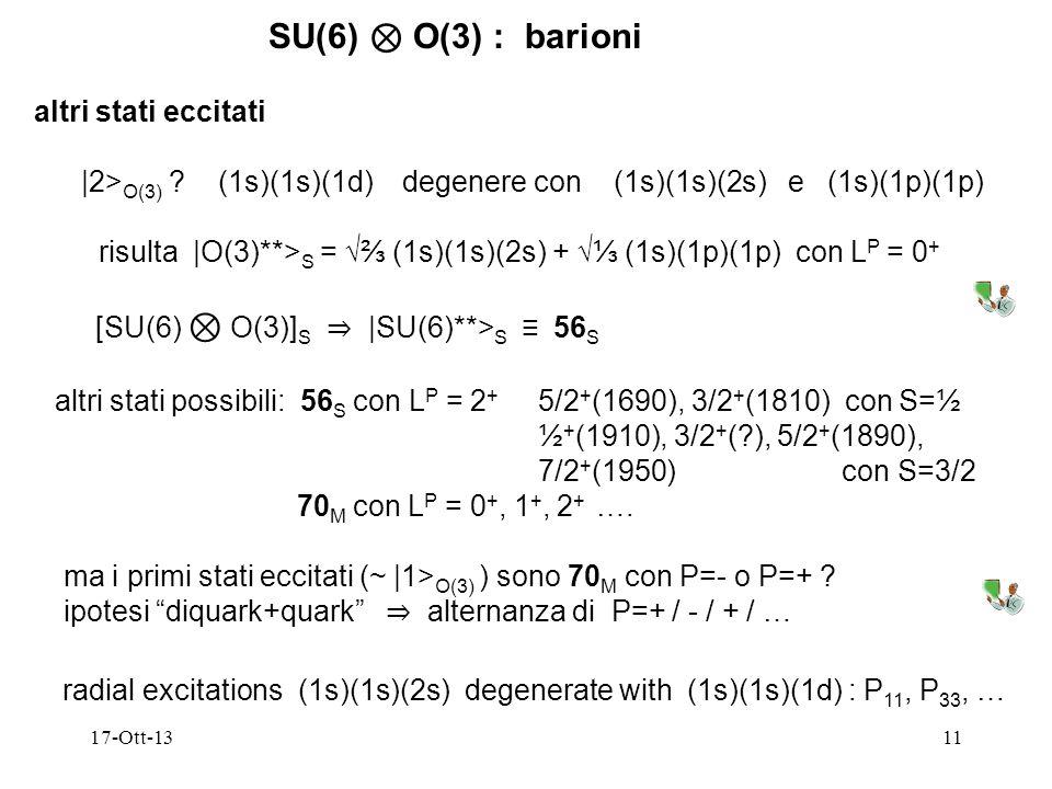 SU(6) ⊗ O(3) : barioni altri stati eccitati