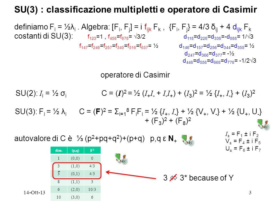 SU(3) : classificazione multipletti e operatore di Casimir