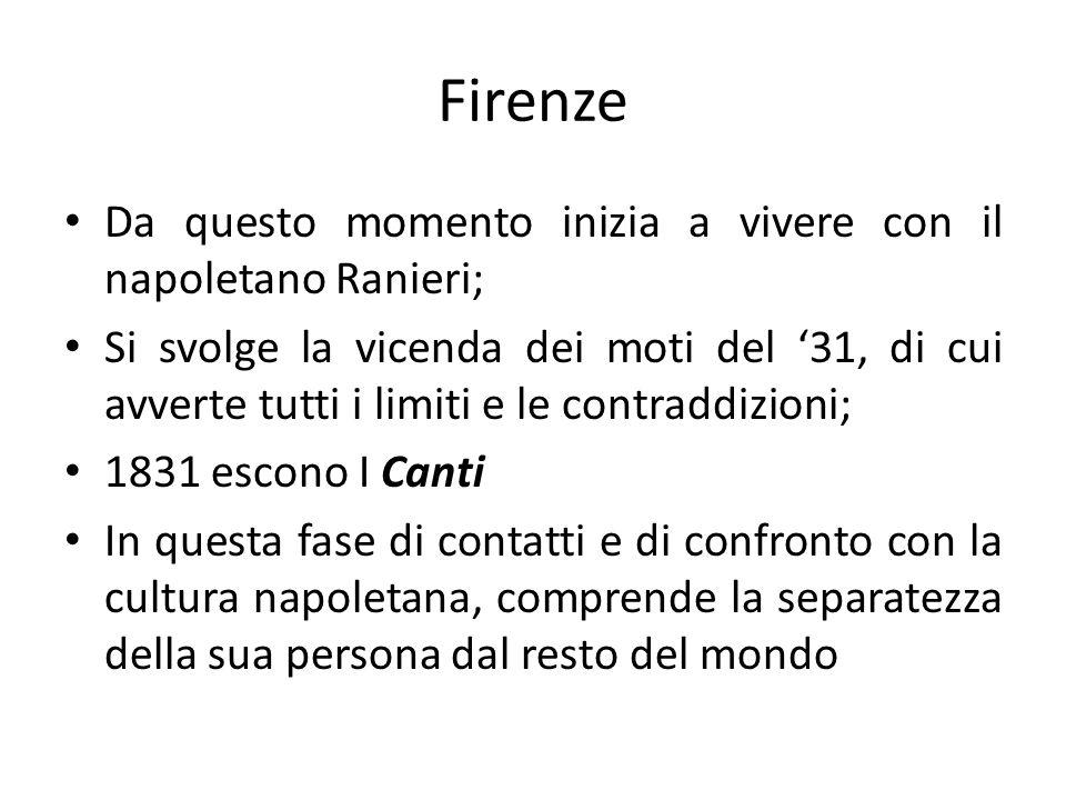 Firenze Da questo momento inizia a vivere con il napoletano Ranieri;