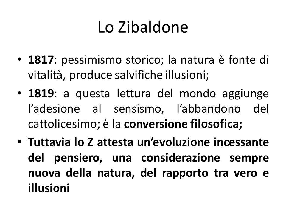 Lo Zibaldone1817: pessimismo storico; la natura è fonte di vitalità, produce salvifiche illusioni;