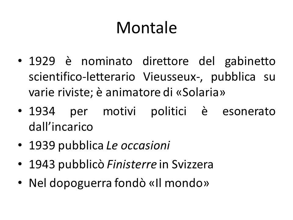 Montale 1929 è nominato direttore del gabinetto scientifico-letterario Vieusseux-, pubblica su varie riviste; è animatore di «Solaria»
